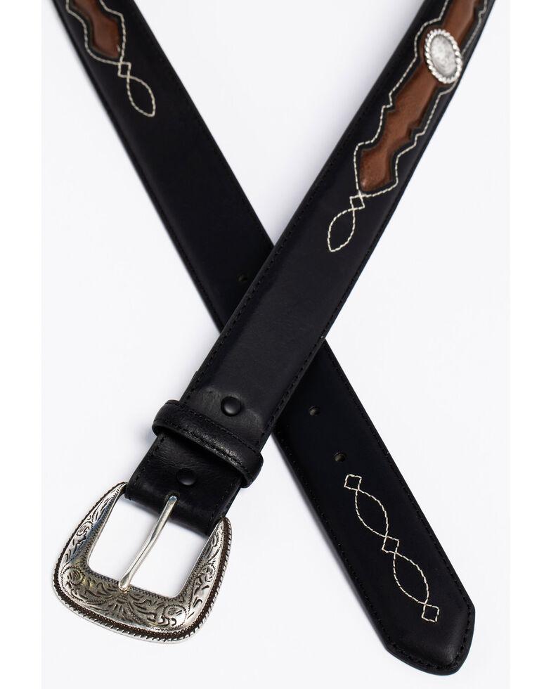 AndWest Men's Fancy Inlay Leather Belt, Black, hi-res