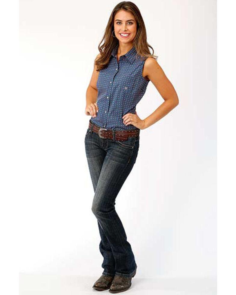 Amarillo Women's Blue Geo Print Sleeveless Western Shirt, Blue, hi-res