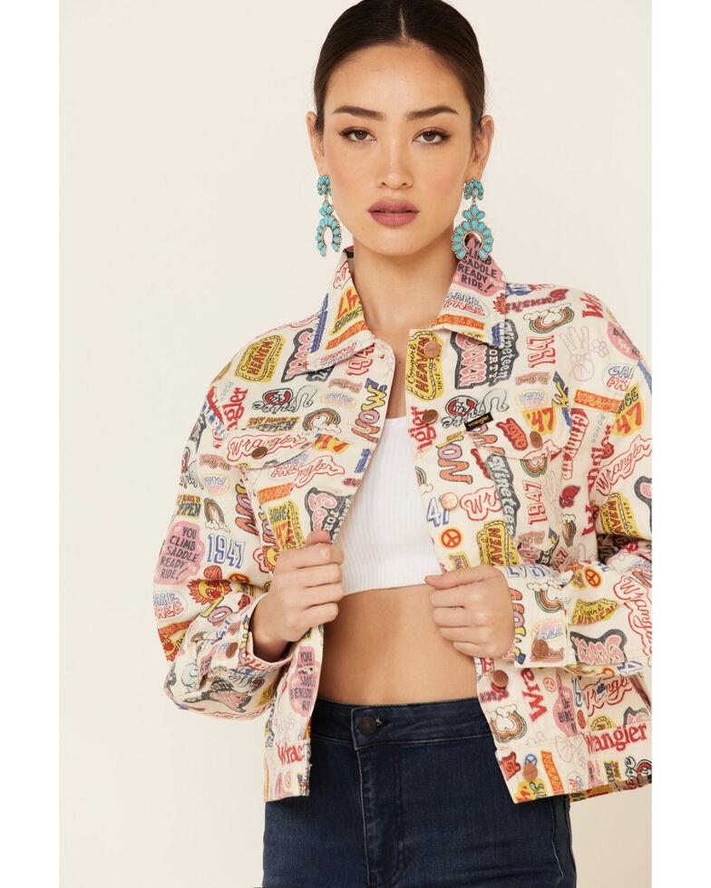 Wrangler Women's Multi Cowgirl Print Denim Button-Front Trucker Jacket , Multi, hi-res