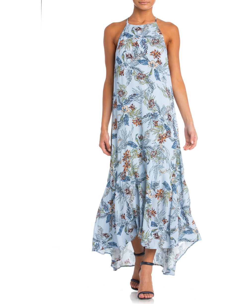 Miss Me Women's Island Fever Maxi Dress, Light Blue, hi-res