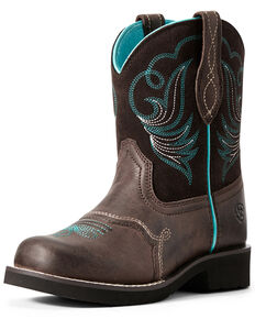 Ariat Boys' Dapper Fatbaby Western Boots - Round Toe, Dark Brown, hi-res