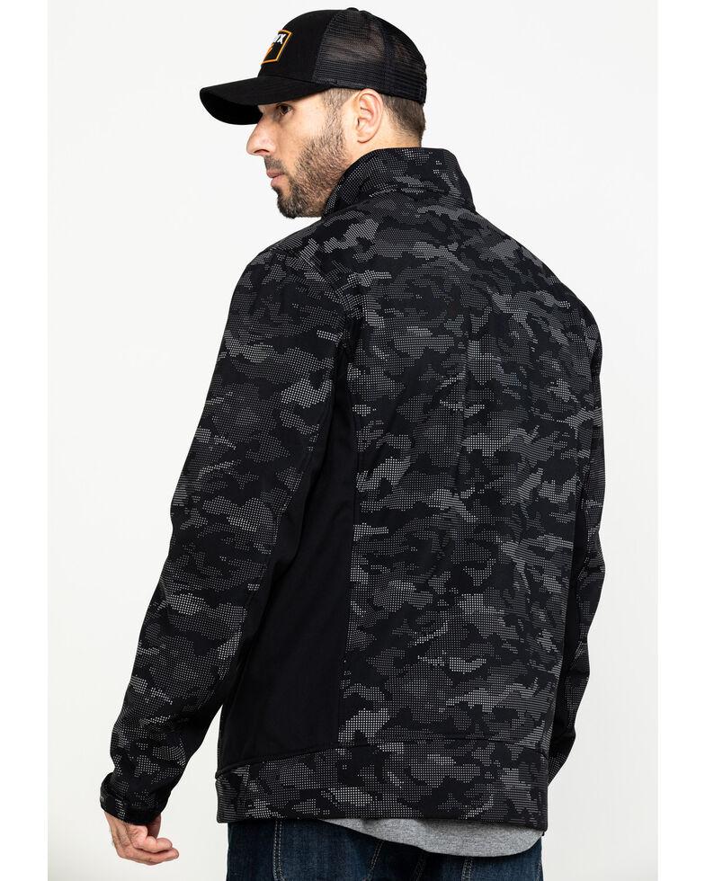 Hawx® Men's Grey Camo Printed Reflective Soft Shell Work Jacket - Tall , Black, hi-res