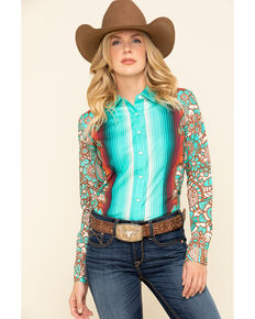 Ranch Dress'n Women's Turquoise Durango Long Sleeve Western Shirt - Plus, Turquoise, hi-res