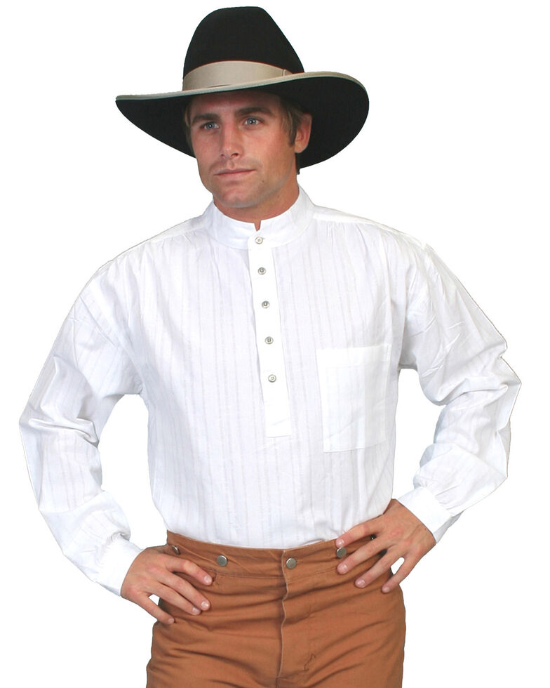 Rangewear by Scully Men's Lightweight Railroader Long Sleeve Western Shirt , White, hi-res
