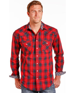 Rough Stock by Panhandle Men's River North Vintage Ombre Plaid Snap Shirt, Red, hi-res