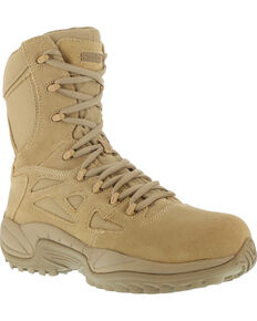 "Reebok Men's Stealth 8"" Lace-Up Side-Zip Desert Khaki Work Boots - Composite Toe, Desert Khaki, hi-res"