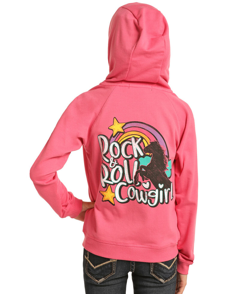Rock & Roll Denim Girls' Pink Rainbow Logo Hoodie, Pink, hi-res