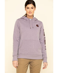 Carhartt Women's Heather Grey Clarksburg Logo Hoodie Sweatshirt, Heather Grey, hi-res