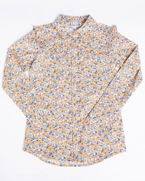 Shyanne Girls' Floral Ditsy Print Long Sleeve Western Shirt , Coral, hi-res