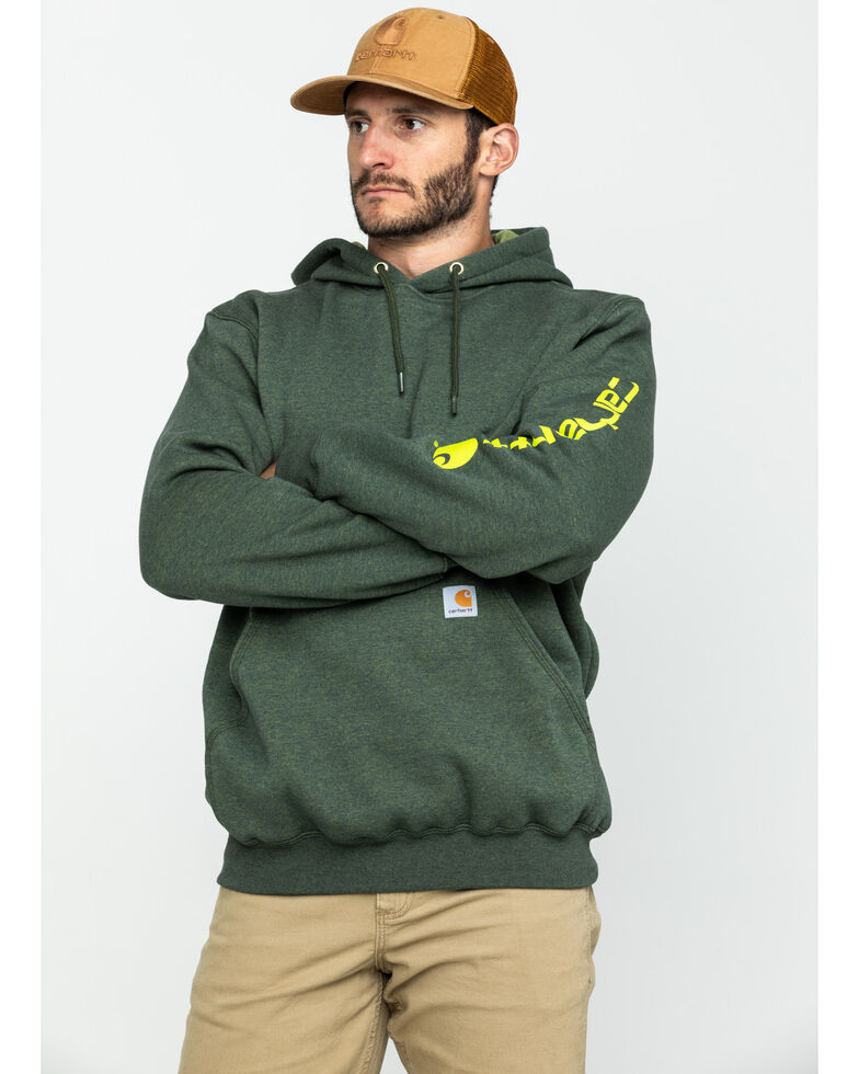 Carhartt Men's Mid Weight Hooded Logo Work Sweatshirt , Olive, hi-res