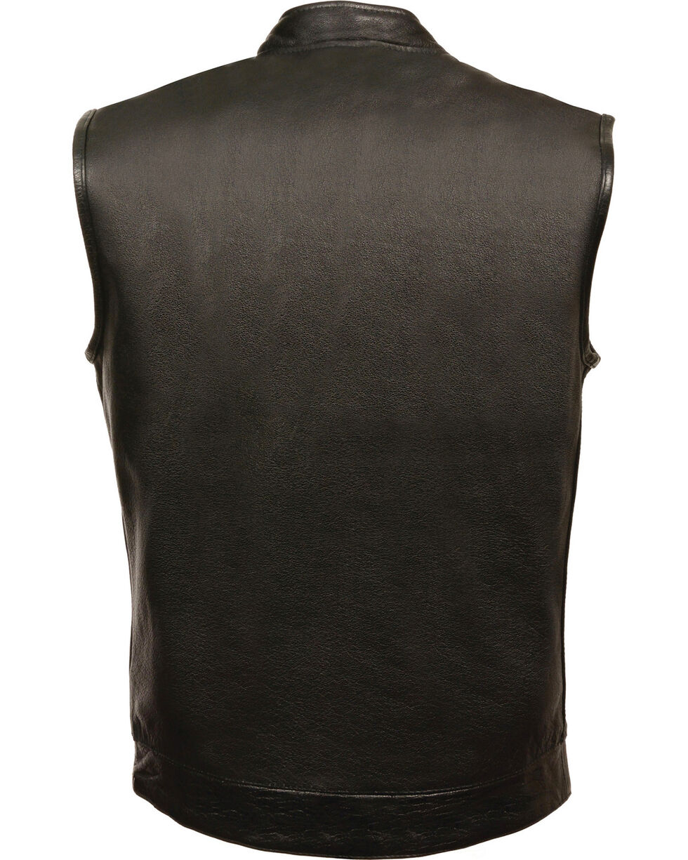 Milwaukee Leather Men's Black Open Neck Club Style Vest - 5X , Black, hi-res