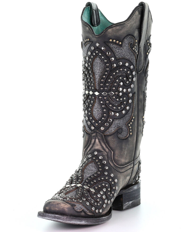 Corral Women's Black Inlay Western Boots - Square Toe, Black, hi-res