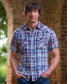 Ryan Michael Men's Red Stripe Plaid Short Sleeve Western Shirt , Indigo, hi-res
