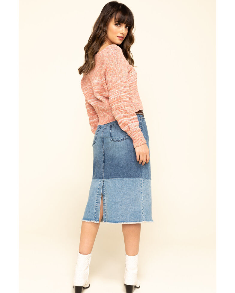 Billy T Women's Color Block Denim Skirt, Blue, hi-res