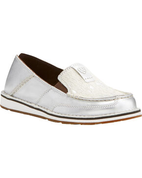 Ariat Women's Silver Stream Hair On Cruiser Shoes - Moc Toe, Silver, hi-res