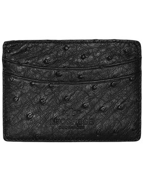 Lucchese Men's Black Ostrich Credit Card Case, Black, hi-res