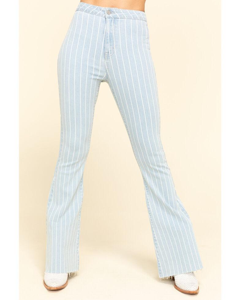 "Cello Women's Light Wash Pinstripe High Rise 34"" Flare Jeans, Blue, hi-res"