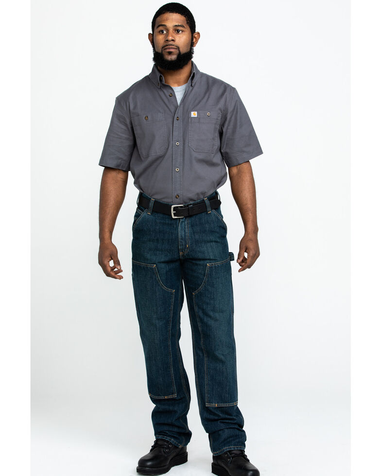 Carhartt Men's Holter Double-Front Dungaree Relaxed Straight Work Jeans, Indigo, hi-res