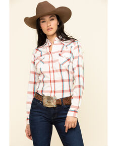 Wrangler Women's Ivory Plaid Long Sleeve Western Shirt , Rust Copper, hi-res