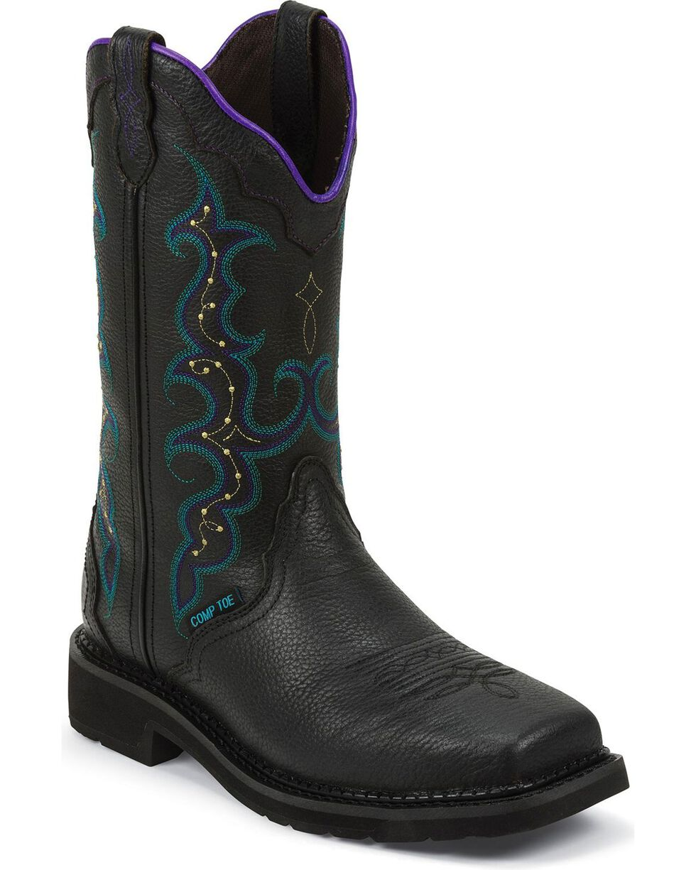 "Justin Women's 12"" Composite Toe Western Work Boots, Black, hi-res"