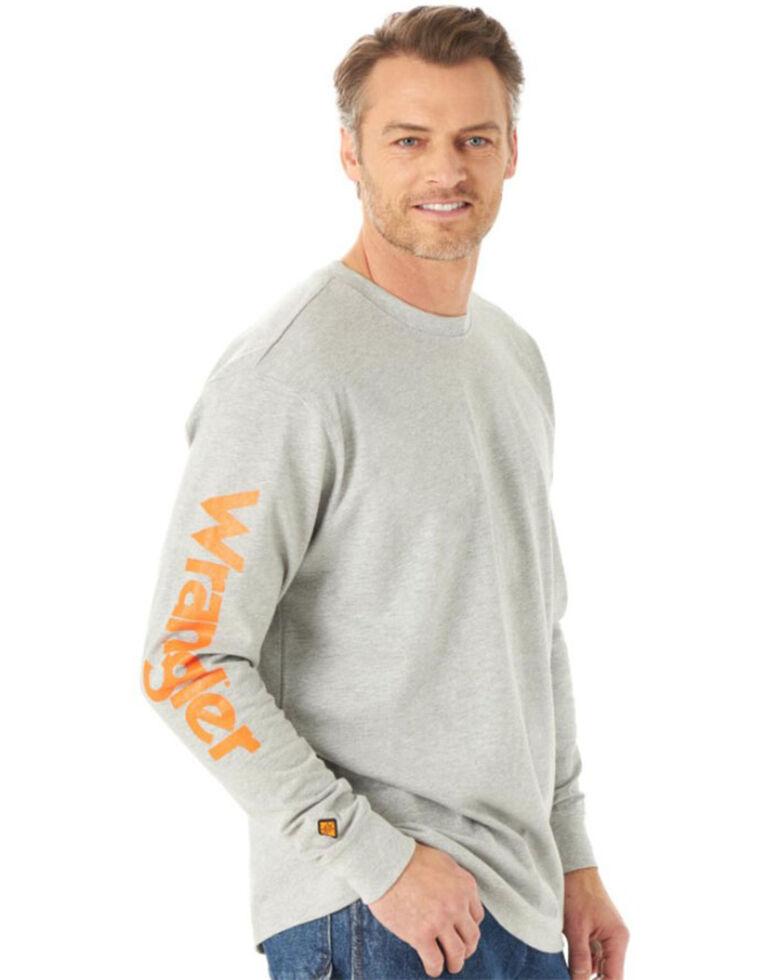 Wrangler FR Men's Wrench Skull Graphic Long Sleeve Work T-Shirt , Heather Grey, hi-res