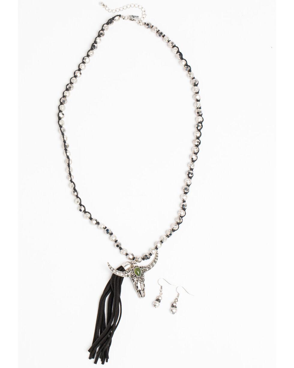 Shyanne Women's Crystal Cross Metallic Longhorn and Tassel Necklace Set, Silver, hi-res