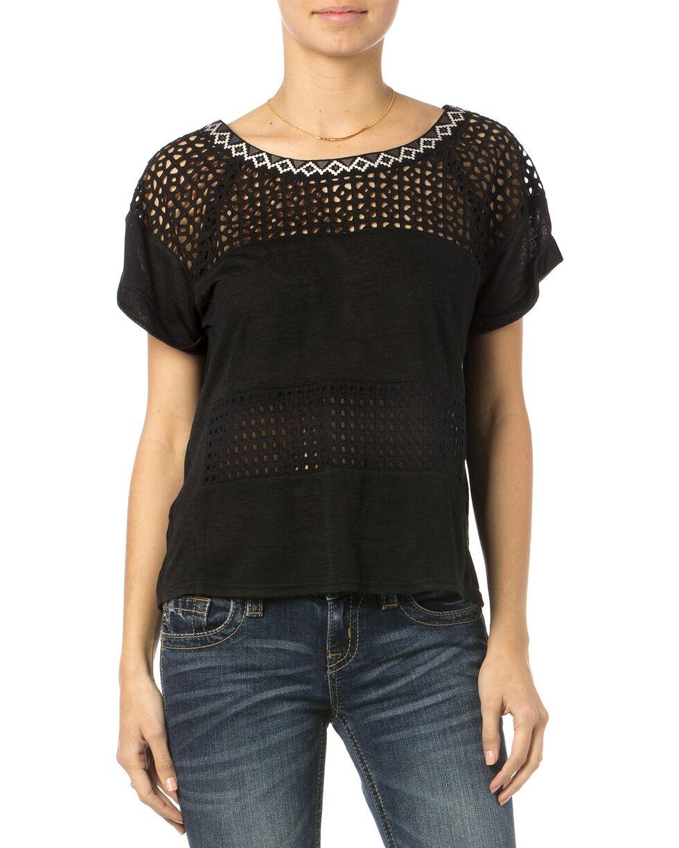 Miss Me Women's Unbeweavable Short Sleeve Top, Black, hi-res