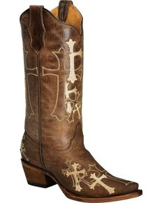Circle G Women's Side Cross Embroidered Western Boots, Brown, hi-res