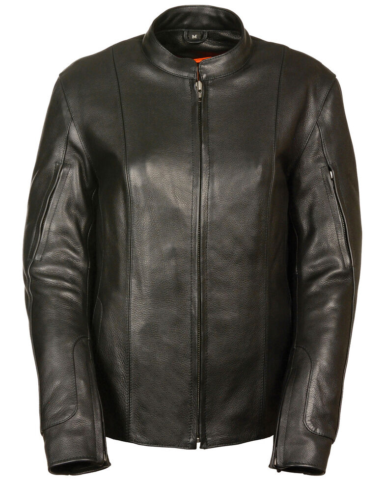 Milwaukee Leather Women's Side Buckle Racer Style Leather Jacket, Black, hi-res