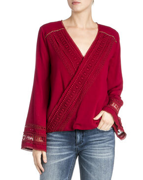Miss Me Women's Cross Front Crochet Long Sleeve Top, Ruby, hi-res