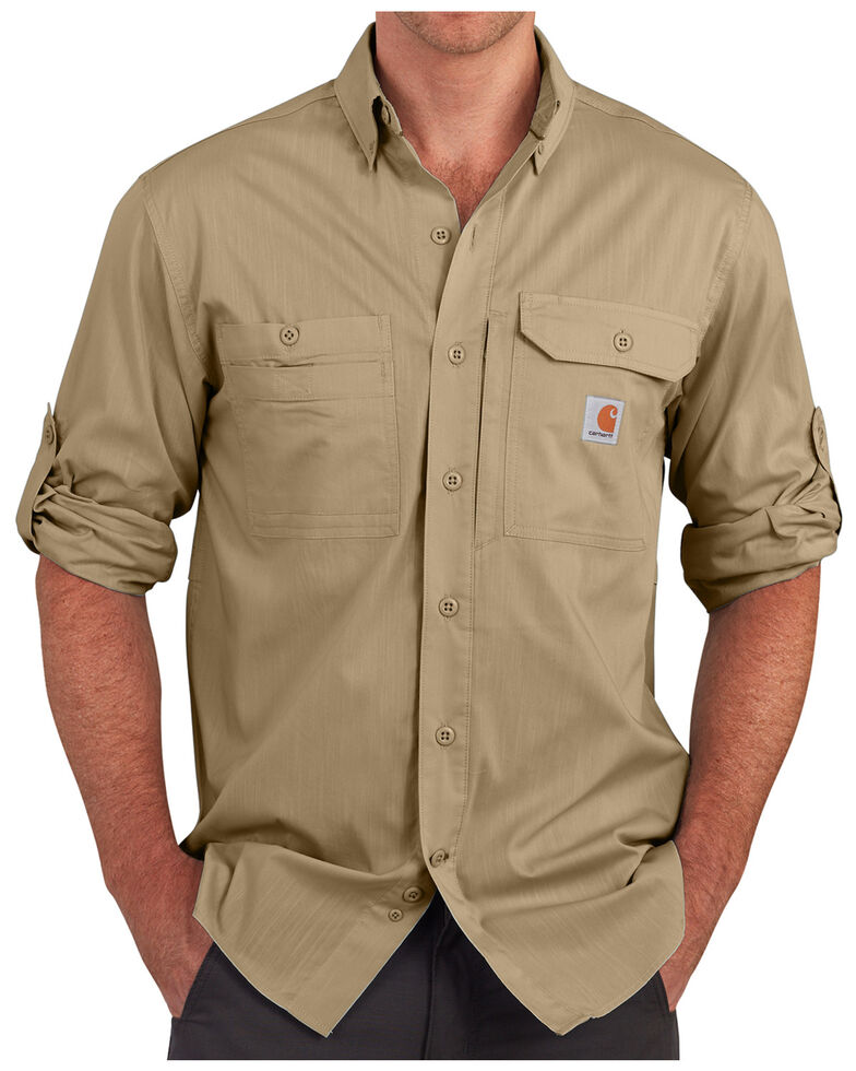 Carhartt Men's Khaki Force Ridgefield Solid Long-Sleeve Shirt - Big & Tall, Khaki, hi-res
