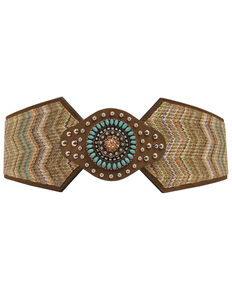 Nocona Wide Chevron Stretch Belt, Multi, hi-res