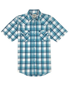 Ely Cattleman Men's Multi Med Plaid Short Sleeve Western Shirt , Blue, hi-res