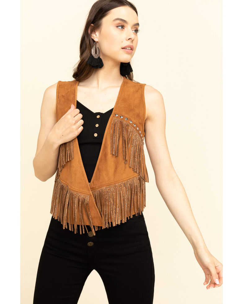 Vocal Women's Studded Fringe Suede Vest , Camel, hi-res