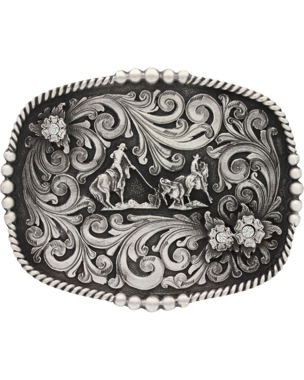 Montana Silversmiths Classic Impressions Triple Flower Team Roping Attitude Belt Buckle, Silver, hi-res