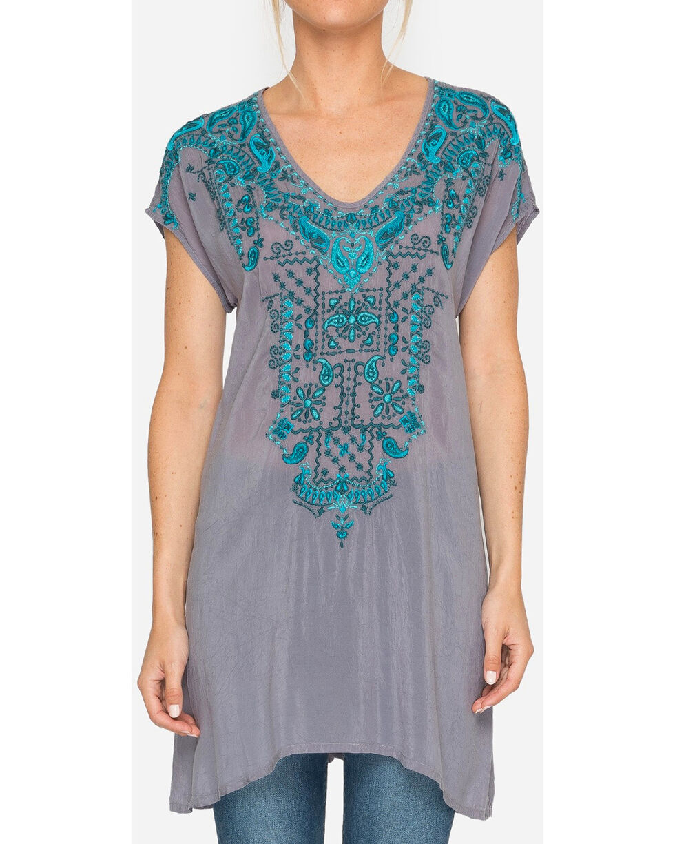 Johnny Was Women's Eros Blue Tunic , Dark Blue, hi-res