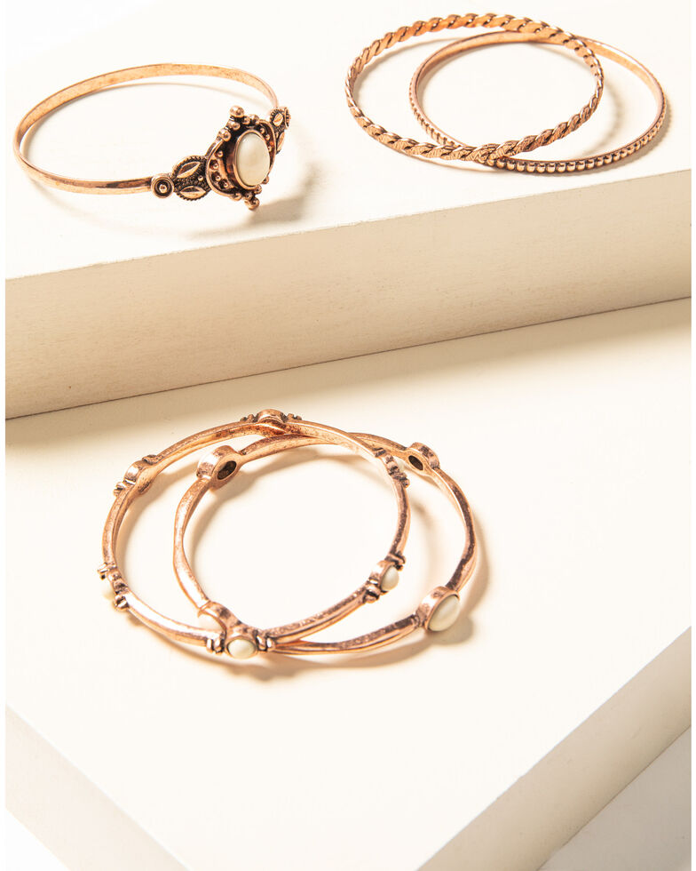 Shyanne Women's Desert Dreams Bangle Bracelet Set , Rust Copper, hi-res