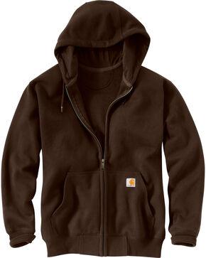 Carhartt Rain Defender Paxton Zip Front Hoodie - Big & Tall, Dark Brown, hi-res