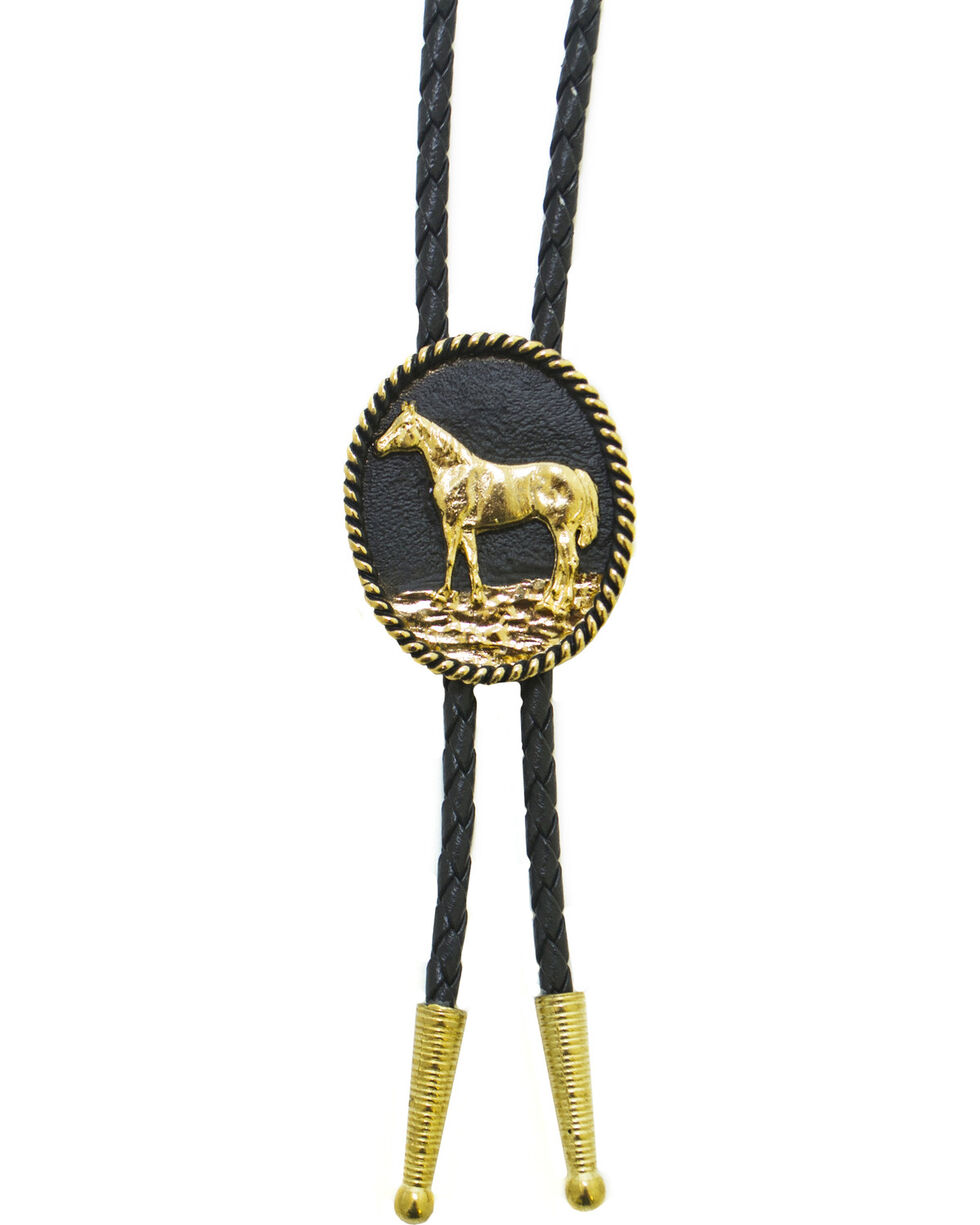 Western Express Men's Standing Horse Bolo Tie, Gold, hi-res
