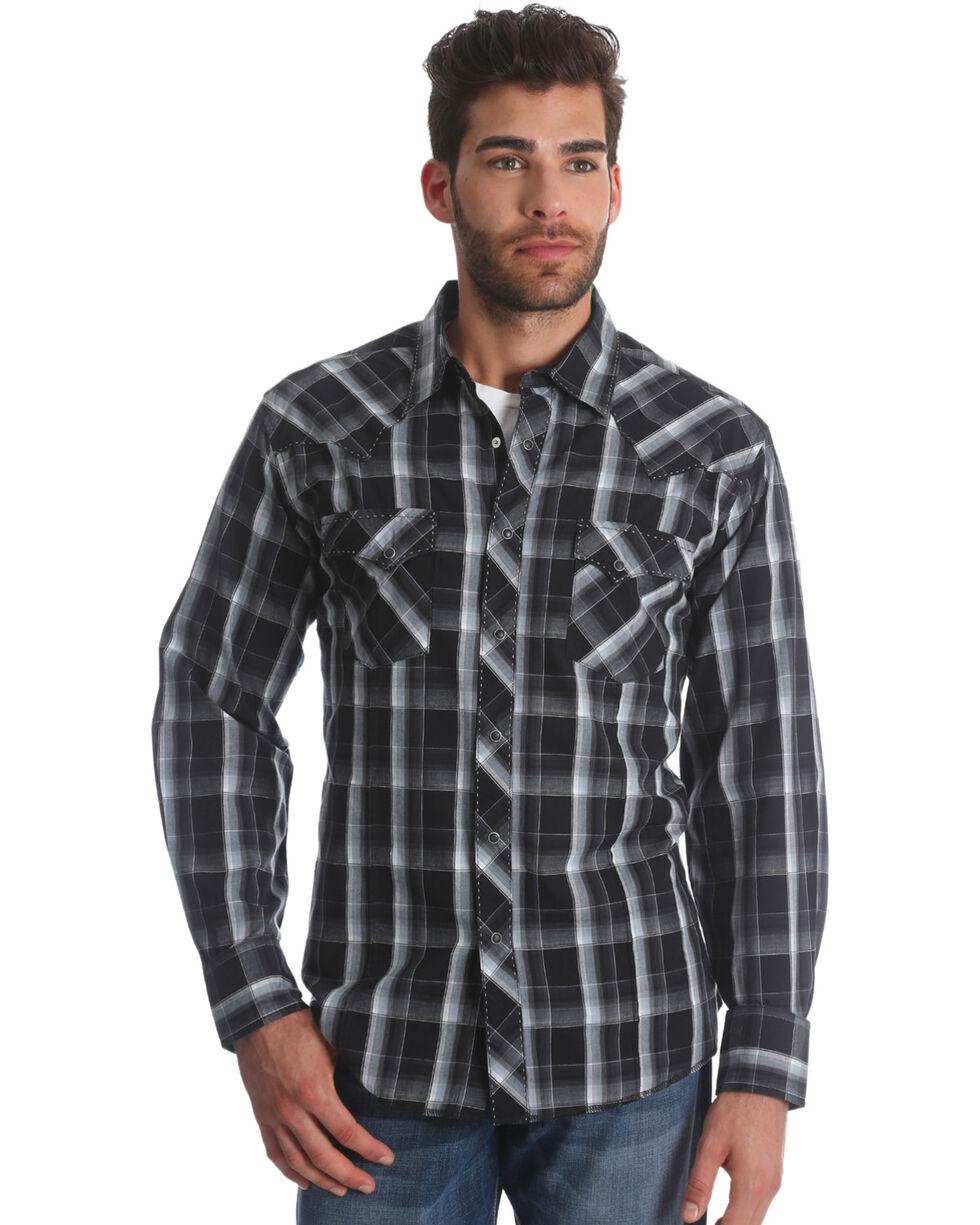 Wrangler Men's Black/Grey Plaid Long Sleeve Fashion Snap Shirt, Black, hi-res