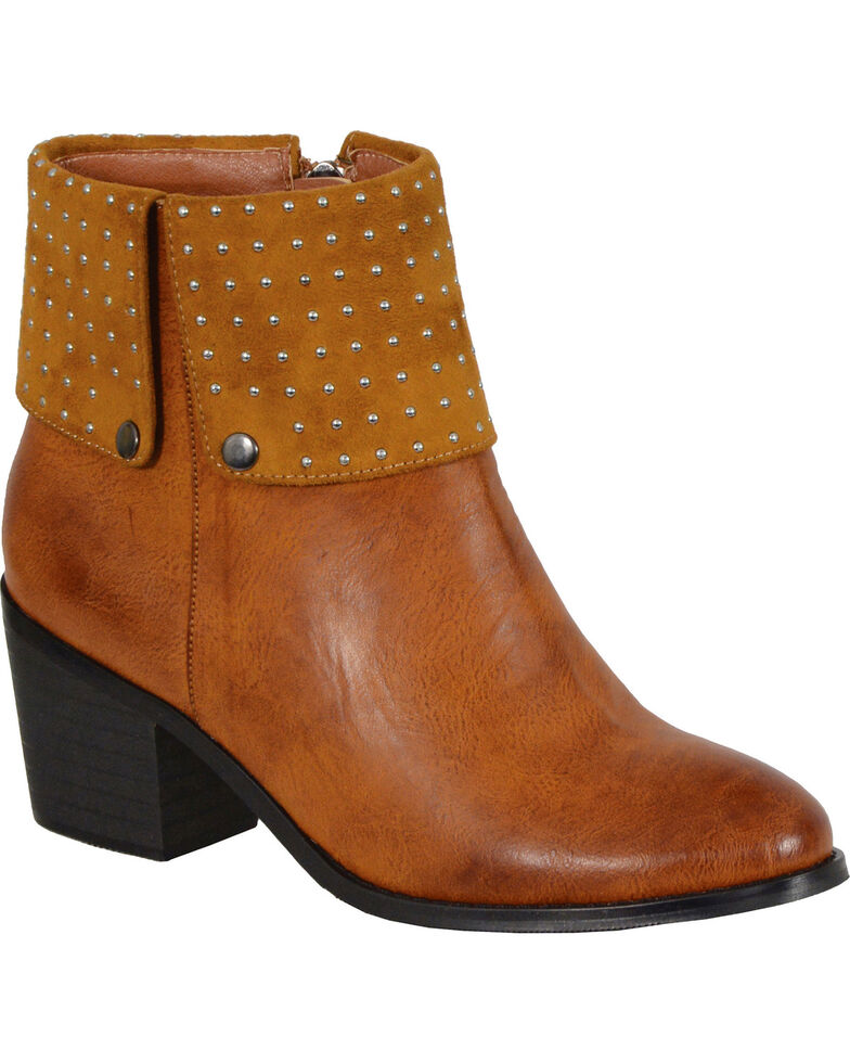 Milwaukee Women's Cognac Studded Booties - Round Toe , Cognac, hi-res