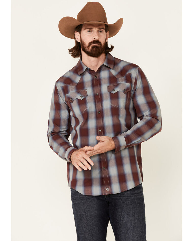 Moonshine Spirit Men's Sun Downer Large Plaid Long Sleeve Snap Western Shirt , Blue/red, hi-res