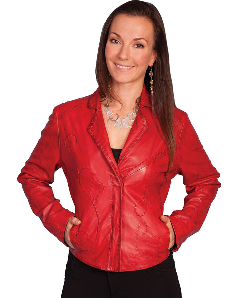 Scully Whipstitch Lamb Jacket, Red, hi-res