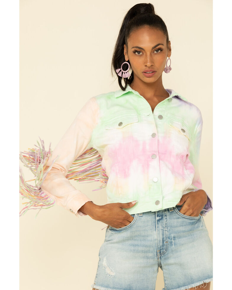 Honey Creek by Scully Women's Tie Dye Fringe Jacket, Multi, hi-res