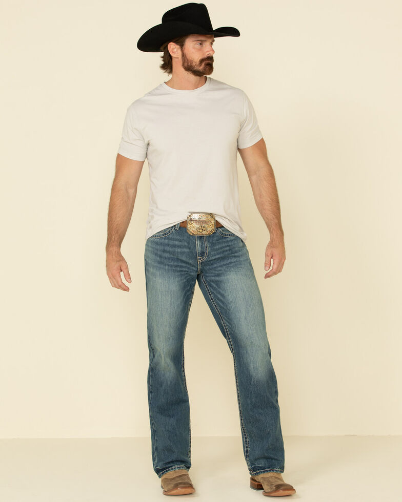 Cinch Men's Grant Med Stone Relaxed Bootcut Jeans , Indigo, hi-res