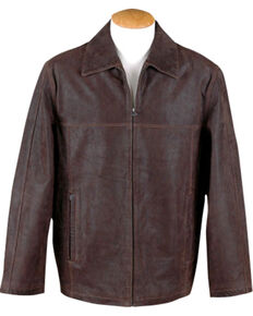Vintage Leather Men's Brown Distressed Leather Jacket , Brown, hi-res