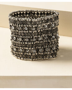 Shyanne Women's Sparkle N' Spice Wide Cuff Stretch Bracelet, Silver, hi-res