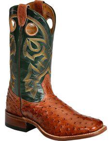 "Boulet Men's Exotic 12"" Ostrich Boots, Brandy, hi-res"
