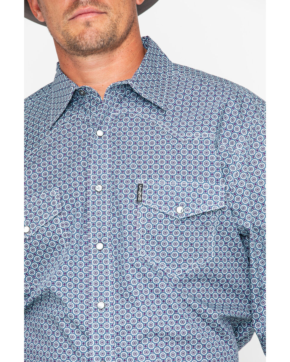 Cinch Men's Teal Modern Fit Circle Print Shirt , Teal, hi-res