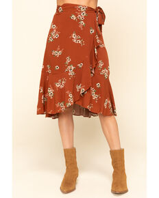Shyanne Women's Brown Floral Wrap Midi Skirt , Brown, hi-res